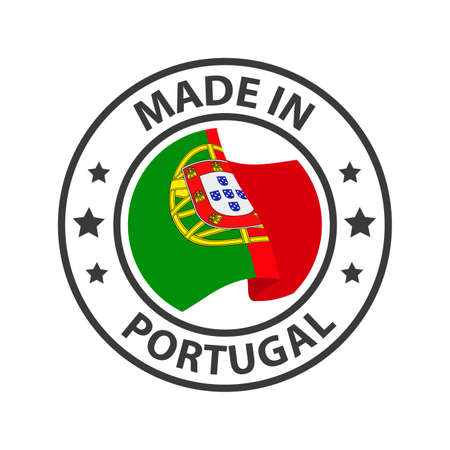 Made in Portugal icon. Stamp made in with country flag 矢量图像