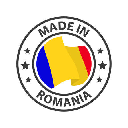 Made in Romania icon. Stamp made in with country flag