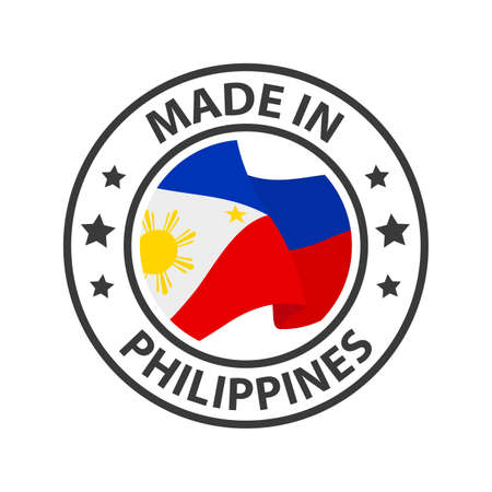 Made in Philippines icon. Stamp made in with country flag