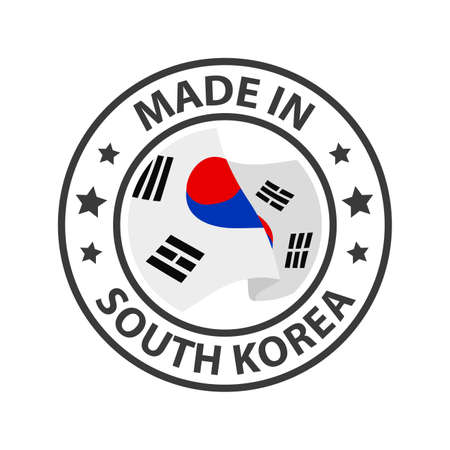 Made in South Korea icon. Stamp made in with country flag 矢量图像