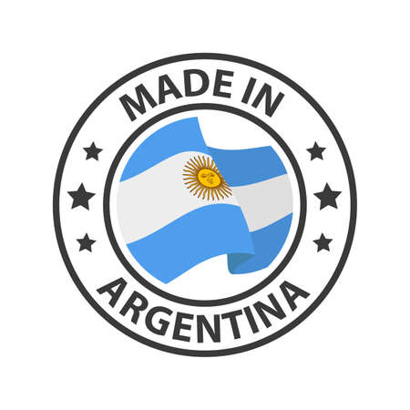 Made in Argentina icon. Stamp made in with country flag