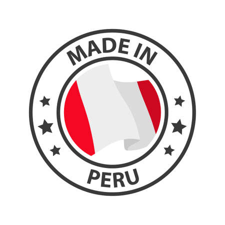 Made in Peru icon. Stamp made in with country flag