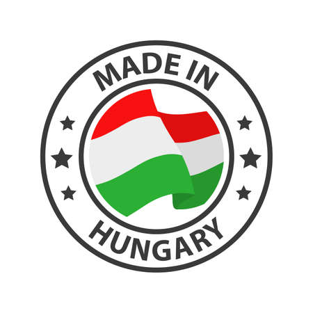 Made in Hungary icon. Stamp made in with country flag 矢量图像