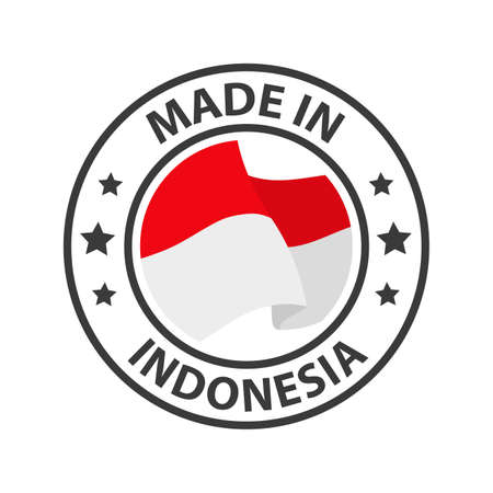 Made in Indonesia icon. Stamp made in with country flag