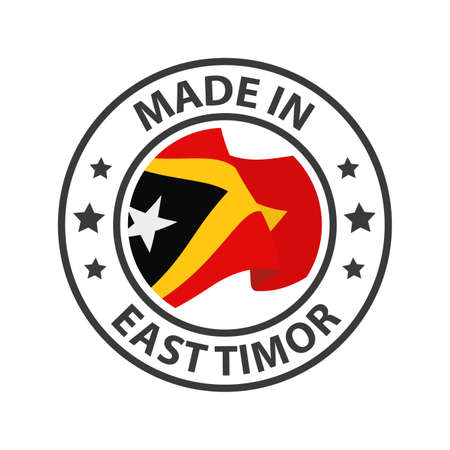 Made in East Timor icon. Stamp made in with country flag