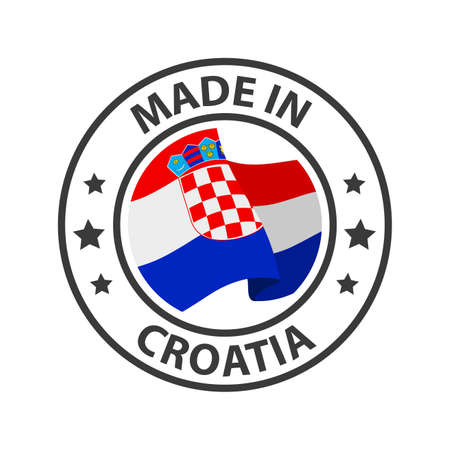 Made in Croatia icon. Stamp made in with country flag
