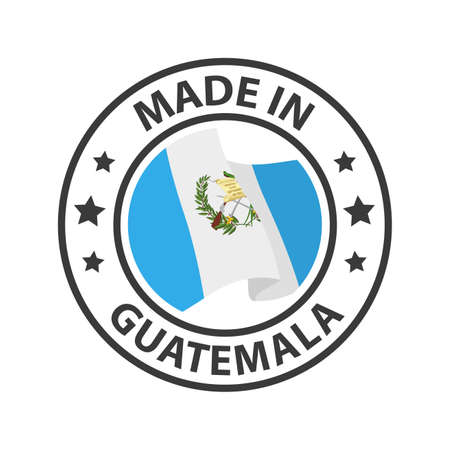 Made in Guatemala icon. Stamp made in with country flag 矢量图像