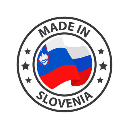 Made in Slovenia icon. Stamp made in with country flag