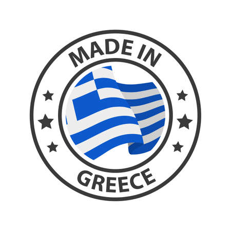 Made in Greece icon. Stamp made in with country flag