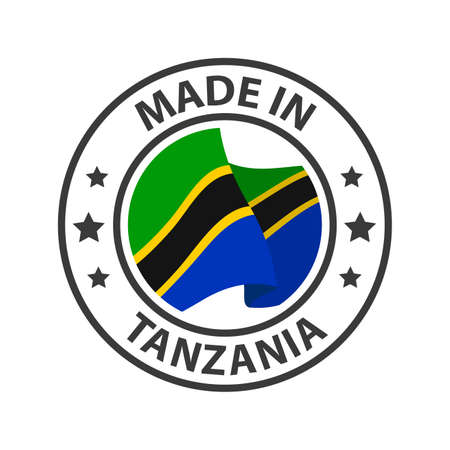 Made in Tanzania icon. Stamp made in with country flag 矢量图像