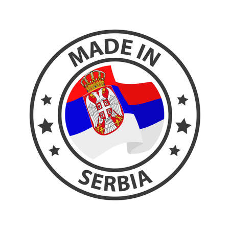 Made in Serbia icon. Stamp made in with country flag 矢量图像