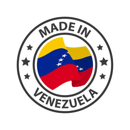 Made in Venezuela icon. Stamp made in with country flag