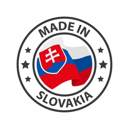 Made in Slovakia icon. Stamp made in with country flag
