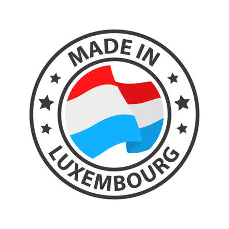 Made in Luxembourg icon. Stamp made in with country flag