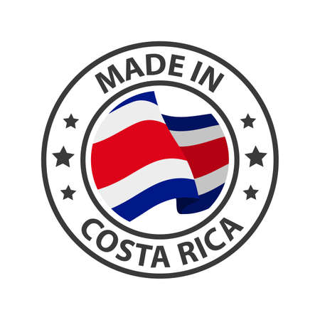 Made in Costa Rica icon. Stamp made in with country flag