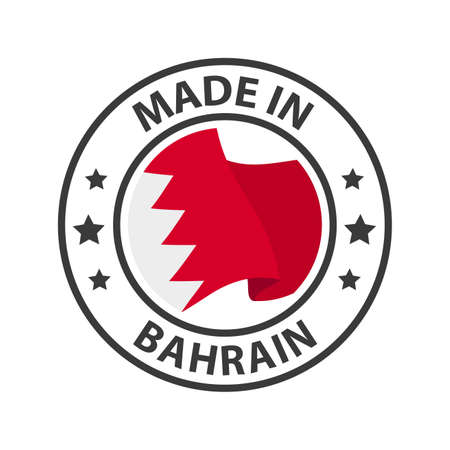 Made in Bahrain icon. Stamp made in with country flag