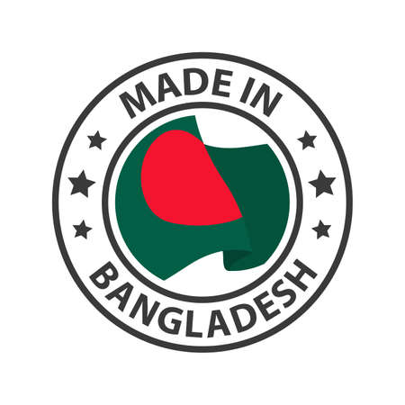 Made in Bangladesh icon. Stamp made in with country flag