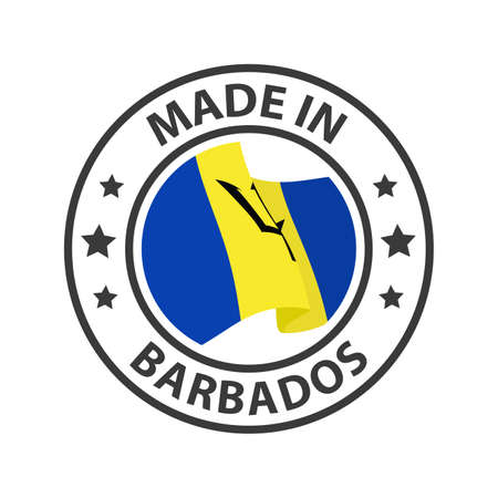 Made in Barbados icon. Stamp made in with country flag
