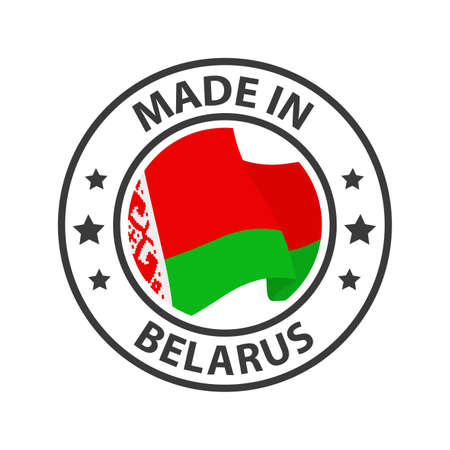 Made in Belarus icon. Stamp made in with country flag