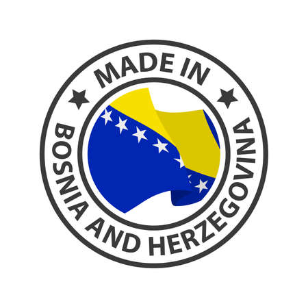 Made in Bosnia and Herzegovina icon. Stamp made in with country flag 矢量图像
