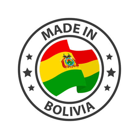 Made in Bolivia icon. Stamp made in with country flag 矢量图像
