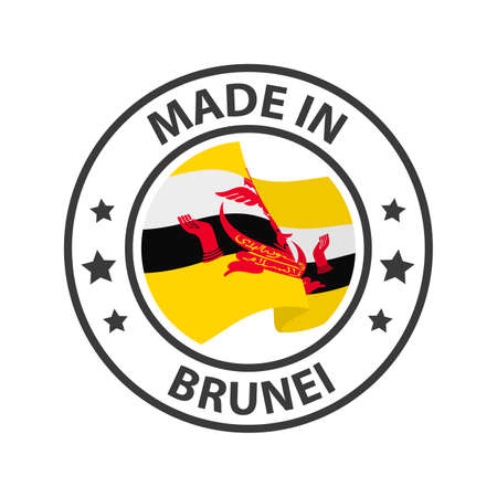 Made in Brunei icon. Stamp made in with country flag