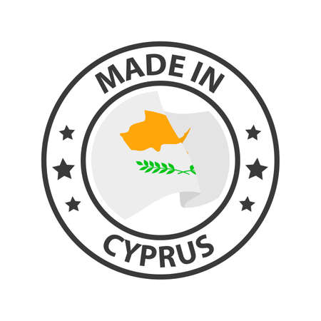 Made in Cyprus icon. Stamp made in with country flag