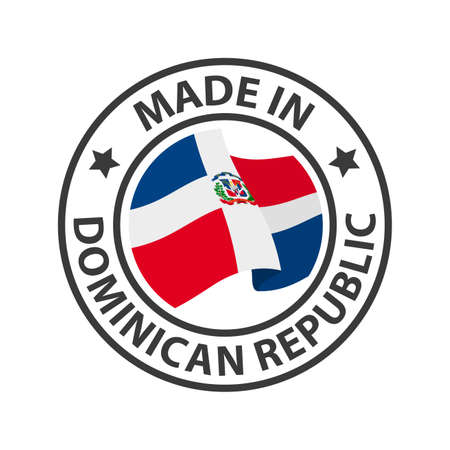 Made in Dominican Republic icon. Stamp made in with country flag 矢量图像