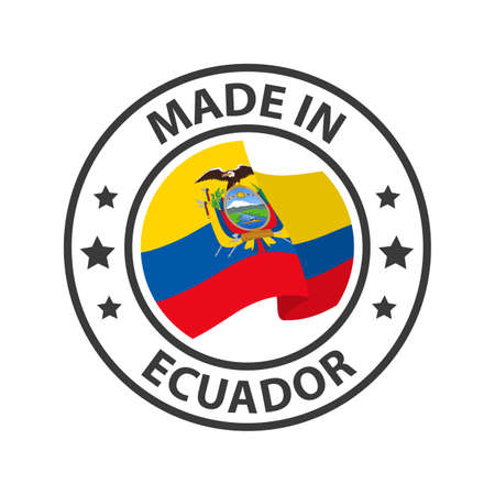 Made in Ecuador icon. Stamp made in with country flag