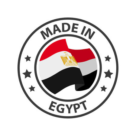 Made in Egypt icon. Stamp made in with country flag