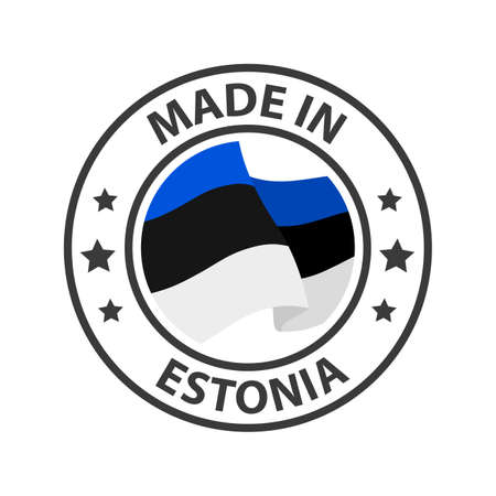 Made in Estonia icon. Stamp made in with country flag