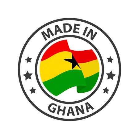 Made in Ghana icon. Stamp made in with country flag