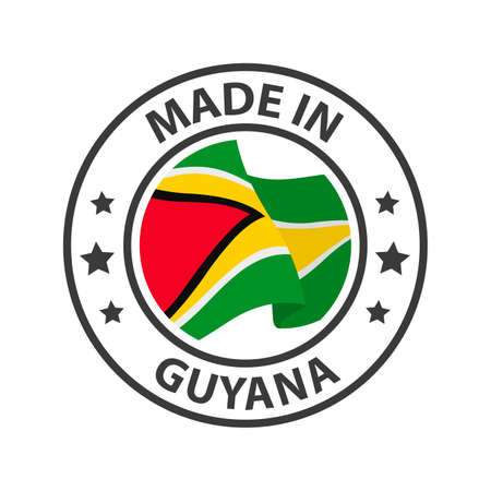 Made in Guyana icon. Stamp made in with country flag 矢量图像