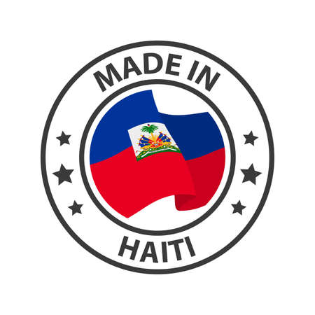 Made in Haiti icon. Stamp made in with country flag 矢量图像