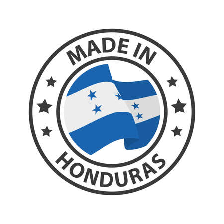 Made in Honduras icon. Stamp made in with country flag