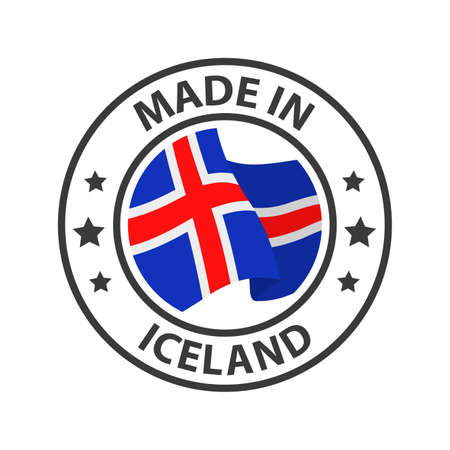 Made in Iceland icon. Stamp made in with country flag 矢量图像