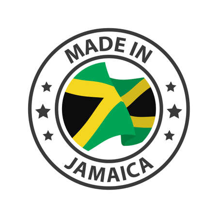 Made in Jamaica icon. Stamp made in with country flag