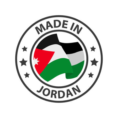 Made in Jordan icon. Stamp made in with country flag