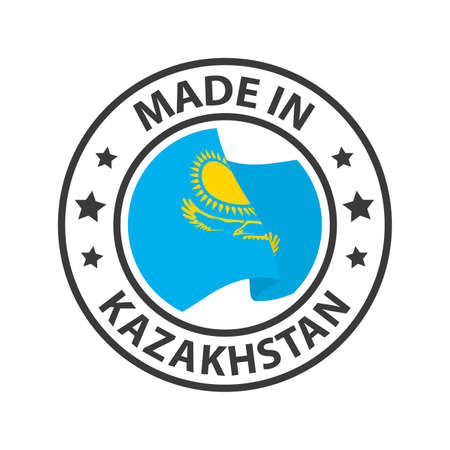 Made in Kazakhstan icon. Stamp made in with country flag 矢量图像