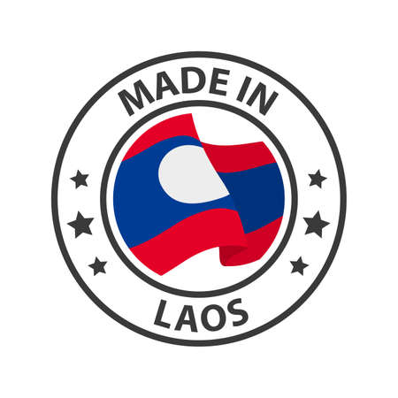 Made in Laos icon. Stamp made in with country flag