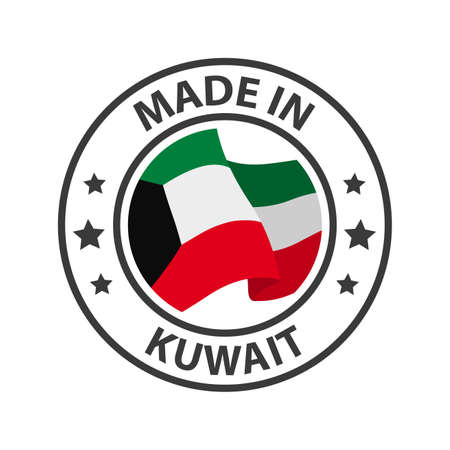 Made in Kuwait icon. Stamp made in with country flag