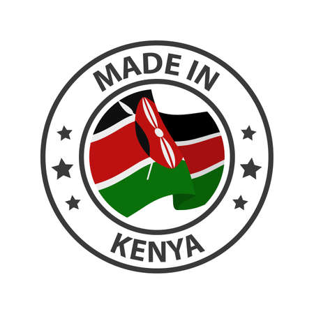 Made in Kenya icon. Stamp made in with country flag