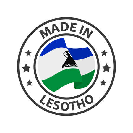 Made in Lesotho icon. Stamp made in with country flag
