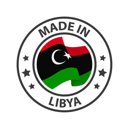 Made in Libya icon. Stamp made in with country flag
