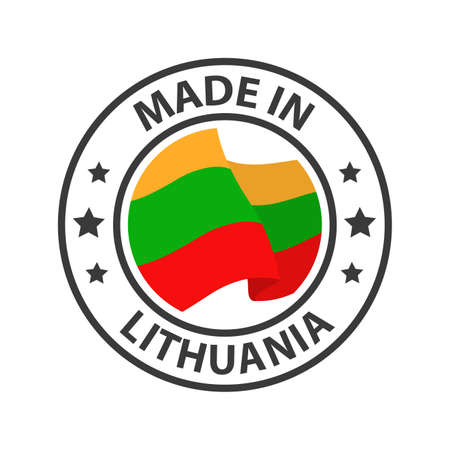 Made in Lithuania icon. Stamp made in with country flag