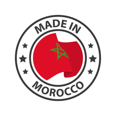 Made in Morocco icon. Stamp made in with country flag 矢量图像