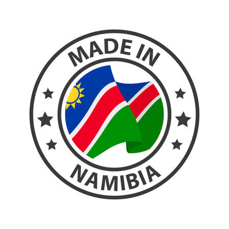 Made in Namibia icon. Stamp made in with country flag