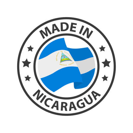 Made in Nicaragua icon. Stamp made in with country flag