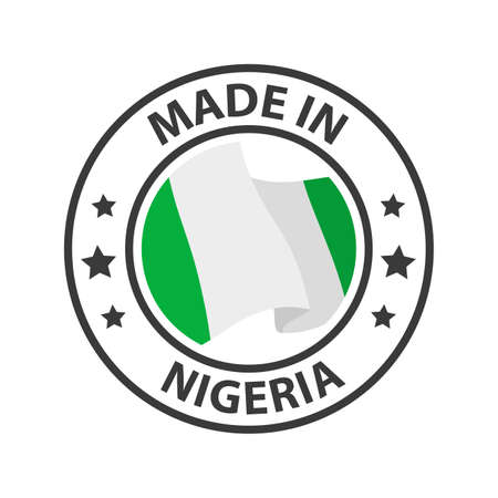 Made in Nigeria icon. Stamp made in with country flag
