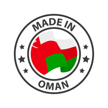 Made in Oman icon. Stamp made in with country flag 矢量图像